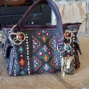 New Montana West satchel bag embroidered